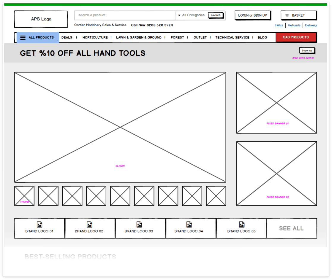 wireframe of APS